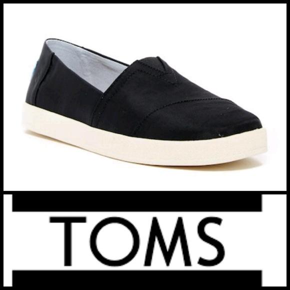 eff39369503 TOMS Black Nylon Avalon Slip-Ons W8.5